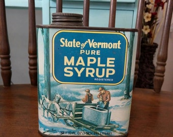 Vintage state of Vermont syrup tin