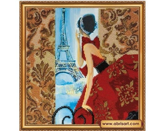 "The kit for a Embroidery with beads by ABRIS ART  ""Window to Paris"""