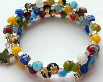 Millefiori Bracelet, Millefiori Wrap Bracelet, Murano Glass Bracelet, Multicolor Bracelet, Glass Beads, Multicolor Wrap Bracelet