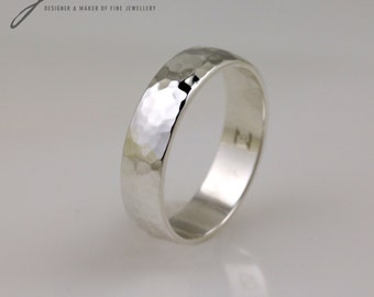 Sterling Silver Handmade Hammered Texture Ring. 5 mm width