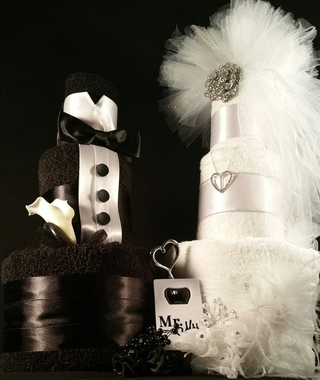 3 Tier Black Amp White Bride And Groom Towel Cake W Silver