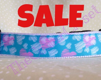 Turquoise and Pink Love Heart Dog Collar
