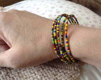 Rainbow Seed and Cloisonné Bead Cuff Memory Wire Handmade Bracelet