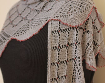 Lace wrap. Hand knitted triangular lace shawl with beads.Gray wrap, shawl.Knit beaded shawl/wrap,Vogue