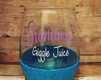 Grandma's Giggle Juice/Stemless Wine Glass/Glitter Dipped
