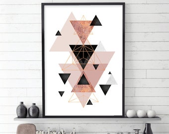 Geometric Art, Scandinavian Geometric, Scandinavian Print, Scandinavian Art, Minimalist Poster, Geometric Poster, Blush, Rose Gold, Download