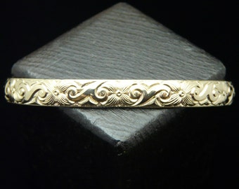 14 KT Gold Filled Heavy Floral Pattern 4 ga. Cuff Bracelet