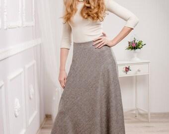 Maxi Skirt / Tweed Skirt / Long warm skirt