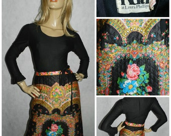Vintage Original 1970s PSYCHEDELIC FLORAL contrast QUILTED Bohemian dress 8 70s Boho Hippy Kitsch Bold
