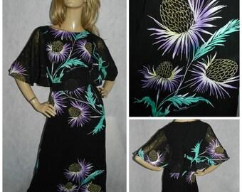 Vintage 70s Black/green/purple BOLD THISTLE print floaty chiffon ANGEL Wing slvd maxi dress 10 S 1970s