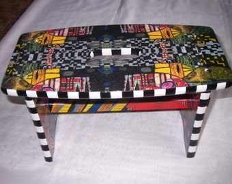 Unusual amazing hand painted and decoupaged Stool.