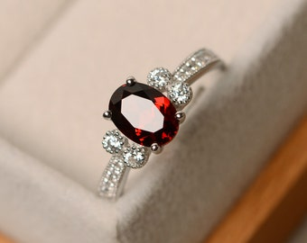 Garnet ring, oval cut ring, natural garnet, red garnet ring, promise ring