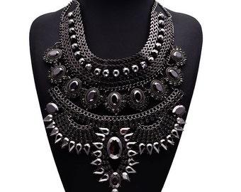 Black statement rhinestone   necklace, Maxi chunky chain necklace, long necklace, maxi necklace,boho  metal chain necklace