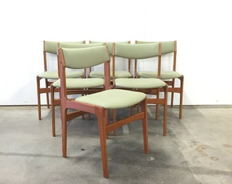 Erik buck Mid century chairs in teak from denmark, vintage chirs