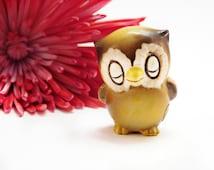 Vintage Josef Originals Baby Owl Figurine, Sleeping Closed Eyes 1970s  Miniature Figurine for Dish Garden or Shadow Box, Adorable
