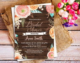cottage bridal shower invitations, Watercolor Peonies Bridal Shower Invitation, peach floral bridal shower invitation, rustic cottage invite