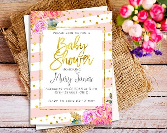 gold and pink girl baby shower invitation, gold pink stripes baby shower invitation, gold glitter, pink peach invitations, girl baby shower