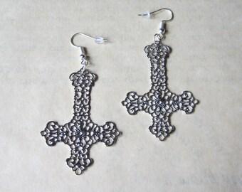 Inverted cross earrings, silver tone or gun metal, you choose!