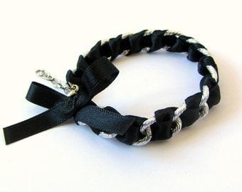 Black woven bracelet, black ribbon bracelet, black chain bracelet, urban jewelry, black bow bracelet, Christmas gift, friendship bracelet