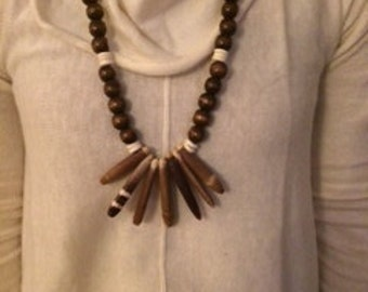 Large Sea Urchin Spine and Wood bead necklace