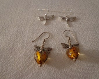 Vintage Amber Glass Heart Dragonfly Dangle Earrings and Silver with Rhinestone Dragonfly Earrings