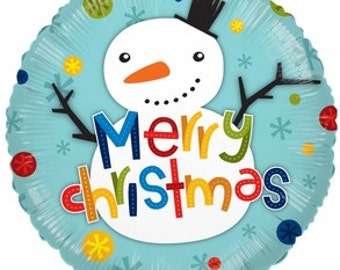 Snowman Balloon, Merry Christmas Balloon, Christmas Decoration, Holiday Decor, Holiday Balloon, Party Decorations, Christmas Balloon