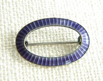 vintage hallmarked SILVER brooch purple ENAMEL ~ lovely~ in1004