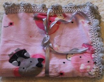 baby Elephant Fleece Blanket// Baby soft Elephant blanket// soft baby pink elephant blanket