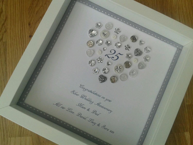 Personalised silver crystal wedding anniversary framed