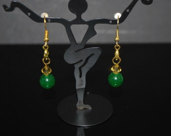 Genuine Emarald Green with 14 Ct Gold Filled Drop Women's Earrings