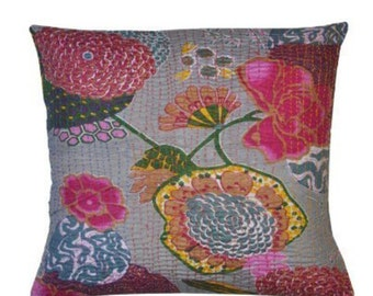 Grey Kantha cushion with pad