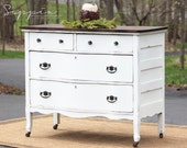 Old White Dresser with Wood Top