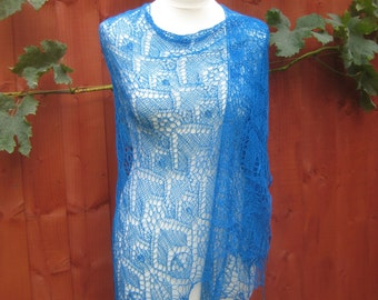 Handmade knitted triangular lace shawl, blue colour shawl, merino wool shawl with blue beads