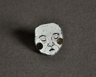 quiet face // shrink plastic pin