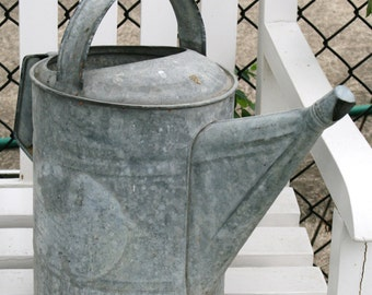 SALE: Vintage watering can; galvanized watering can; collectible watering can; watering can with narrow spout