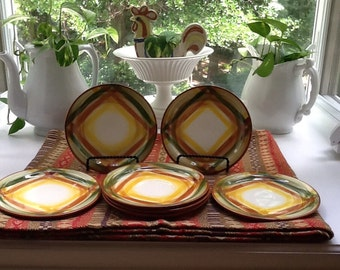 """Vernonware """"Homespun"""" Set of 4 Bread and Butter plates and 3 Saucers"""