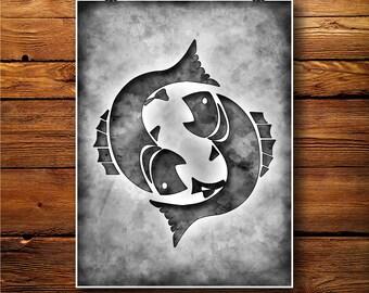 Pisces Print, Zodiac Decor, astrology poster, Horoscope Art    BW605