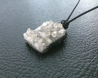 Unisex Raw Natural Herkimer Druzy Quartz Cluster Pendant with Black Leather Cord Necklace