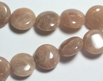 Natural Moonstone in Peach/Grey 12mm Coin Beads - New Price