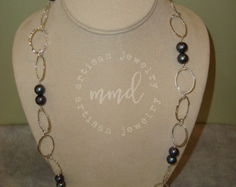 Long Sterling Silver Chain and Pearl Necklace