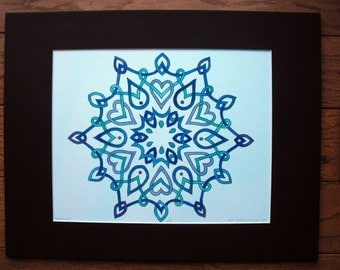 Snowflake Irish Celtic Knot, watercolor print, 11x14, blue purple, snow winter, Christmas