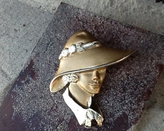 Vintage Brushed Gold Lady Sillouete Brooch
