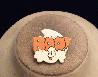 Vintage Halloween Wooden Ghost BOO Pin