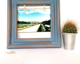 Upcycled Photo Frame   Shabby Chic Picture Frame   Peg & Line Frame   Clothesline Frame   Vintage Frame   Distressed   Customised   Blue