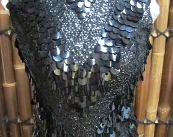1960s / 1970s Sequin and Beaded  Wool ladies top