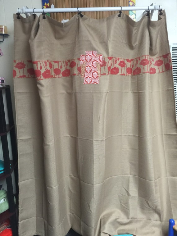 Tan Red Embellished Shower Curtain By Teenataylormade On Etsy