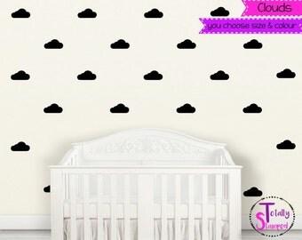 Cloud clouds wall decals, Wall Stickers, Wall Art, Nursery, Boys or Girls, Kids room