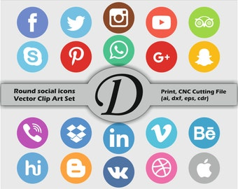 50% OFF SALE Color Round Vector Social Media Icons And Buttons Set, Print, CNC Cutting File (ai, dxf, eps, cdr). 20 Items.