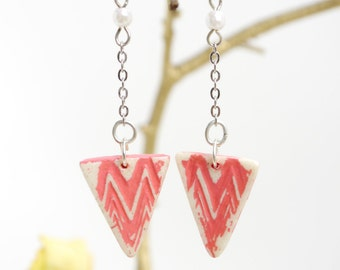 Coral rose pink asymmetric clay earrings/ triangle dangly chain earrings.JE48-115