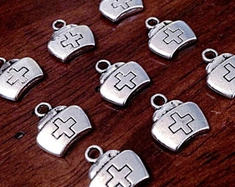 Bulk 25 Nurse Charms, Antique Silver Charms, Medical Charms, Doctor Charms, RN Charms, Nursing Charms, Craft and Jewelry Supplies, Findings